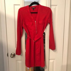 Long Sleeve Red Express Dress with Belt